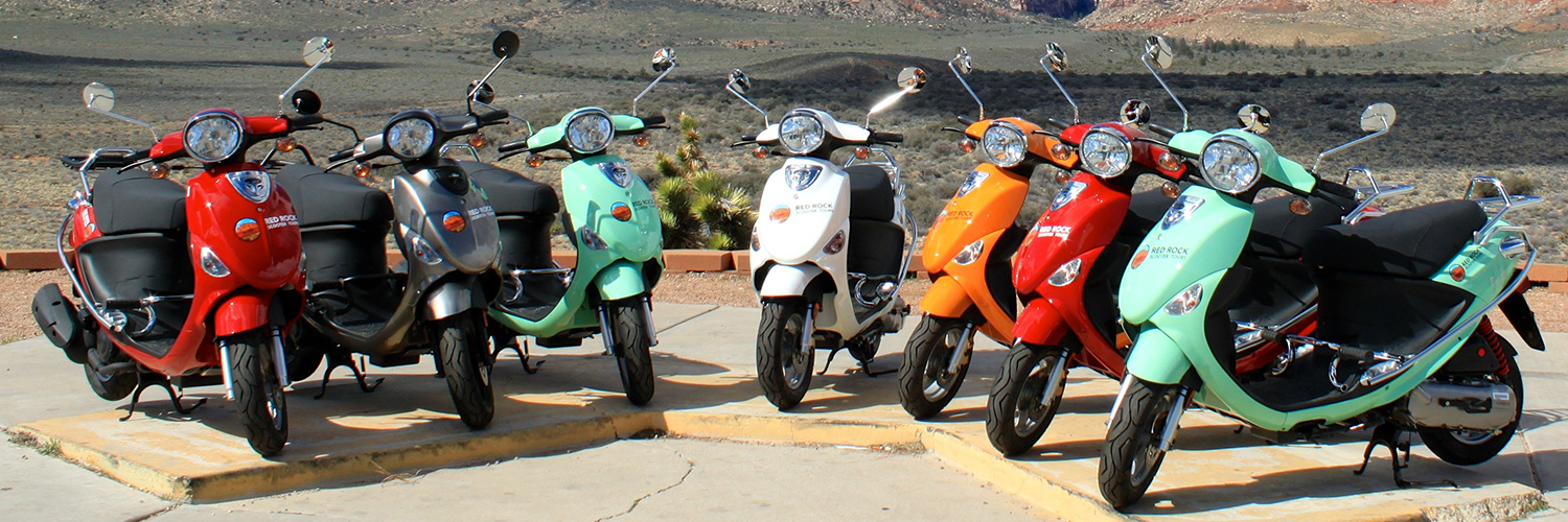 Scooters are ready to roll on a Red Rock Canyon Tour