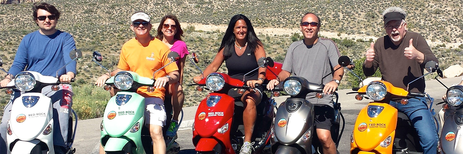 Riders having fun on their Red Rock Scooter Tour