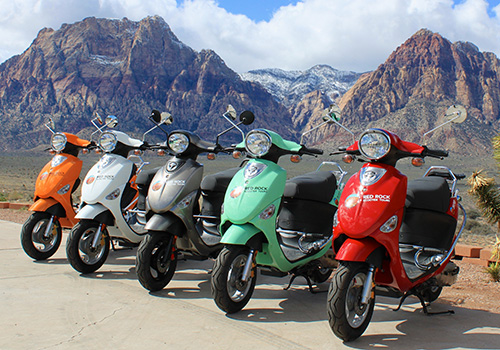 A pretty lineup of scooters in the Red Rock Canyon of Las Vegas